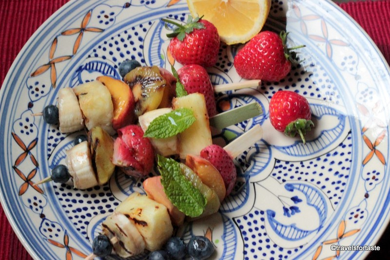 Grilled Fruit Kebabs with a chilli honey drizzle