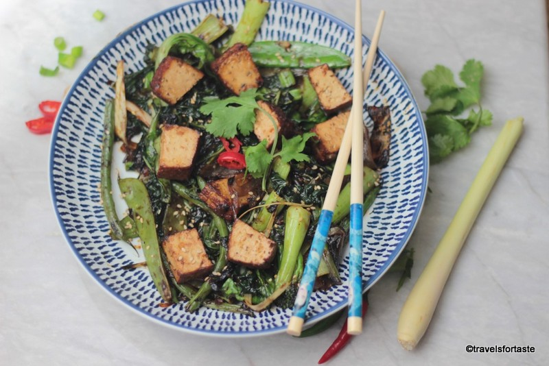Vegetables and smoked tofu stir fried in black bean sauce