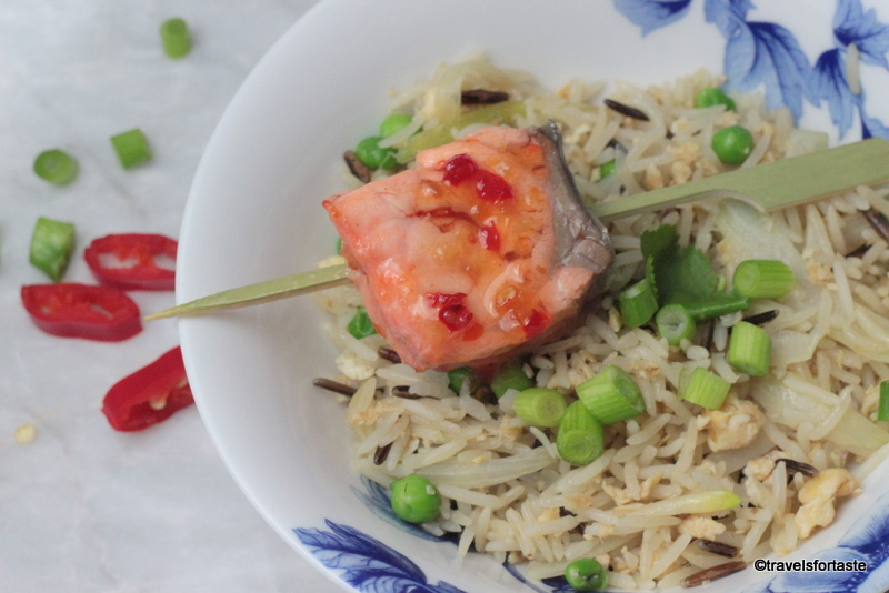 Egg fried rice with mirin soaked sweet chilli salmon