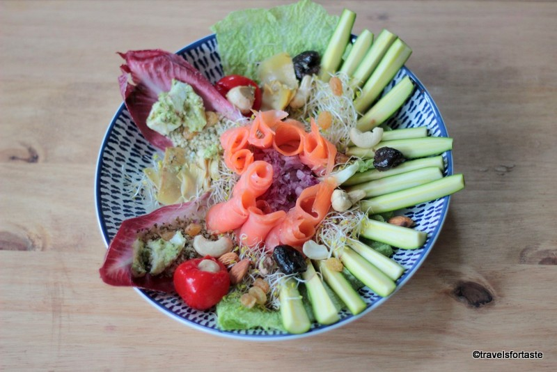 Healthy superfood and smoked salmon salad