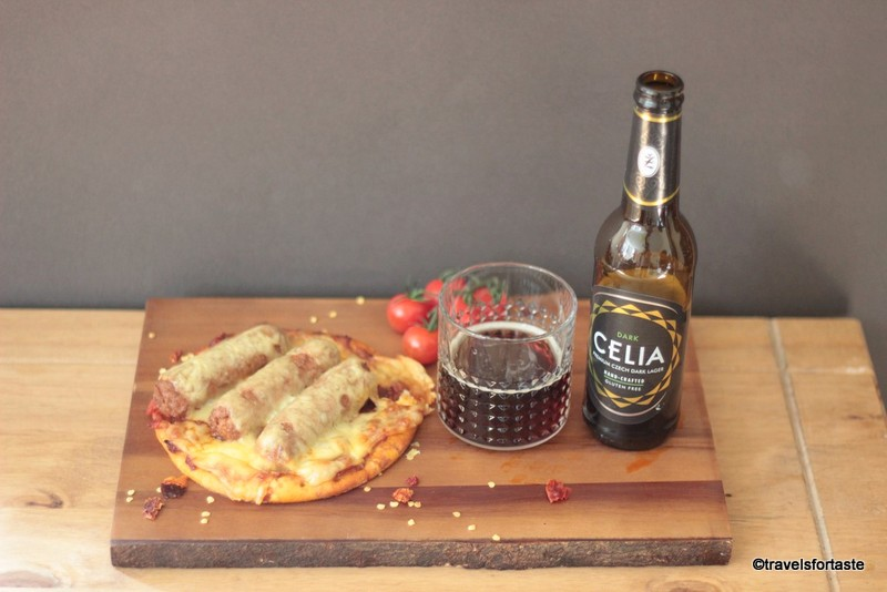 Celia organic GF beer with Genius GF pizza base