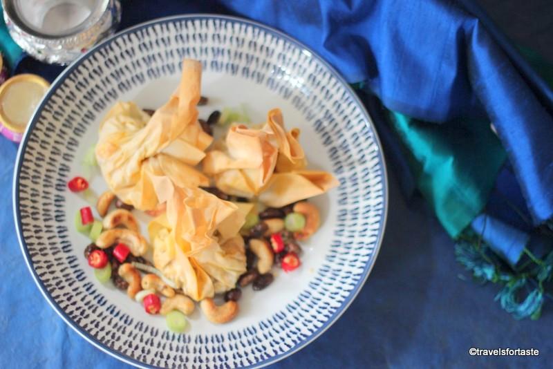 Spicy paneer bhurji encased in delicate filo pastry parcels