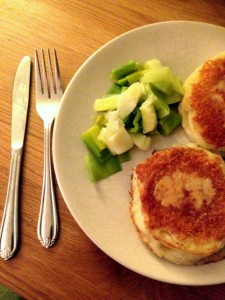 Potato and Goats cheese patties by Helen - Roast chicken and a country walk