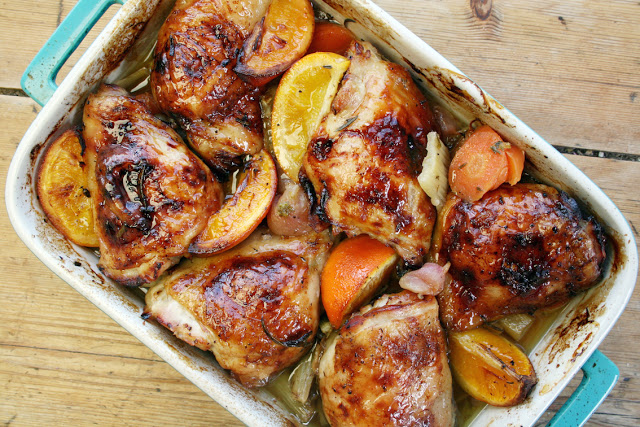 Slow-cooked chicken thighs with orange, radish and honey - Dom - belleaukitchen