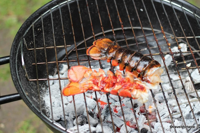 Lobster tails on the BBQ