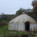 Inside the yurt at the River Cottage