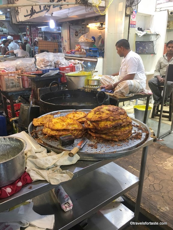 Malpua and huge kadhai's for frying set up specially for the Ramadan Street Food market at Mohammed Ali Road, Mumbai